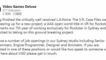 Rockstar Games在合作开发一款3A级开放世界VR游戏作品